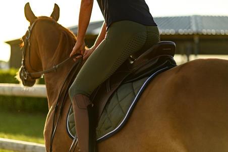 580 Fullgrip Women's Silicone Seat Horse Riding Jodhpurs - Khaki