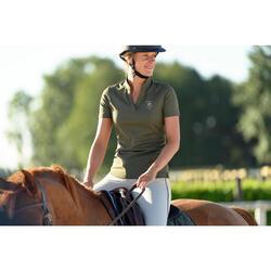Polo manga corta equitación mujer 500 MESH caqui y rojo coral