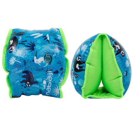 "Children's Swimming Armbands blue ""SLOTH"" print interior 33 - 66 lb."