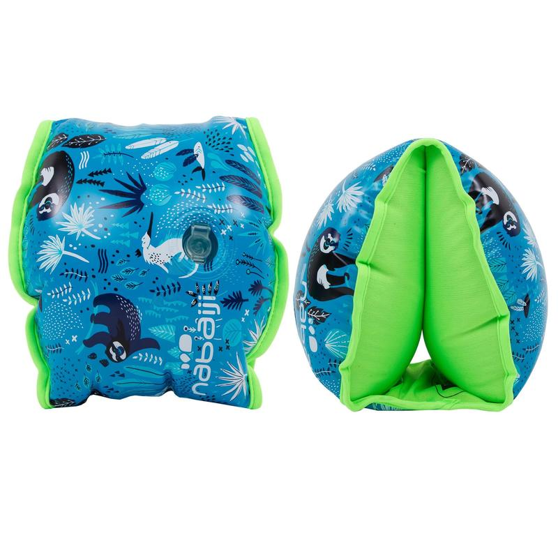 """Swimming armbands with fabric interior for 15-30 kg kids - blue """"Sloth"""" print"""