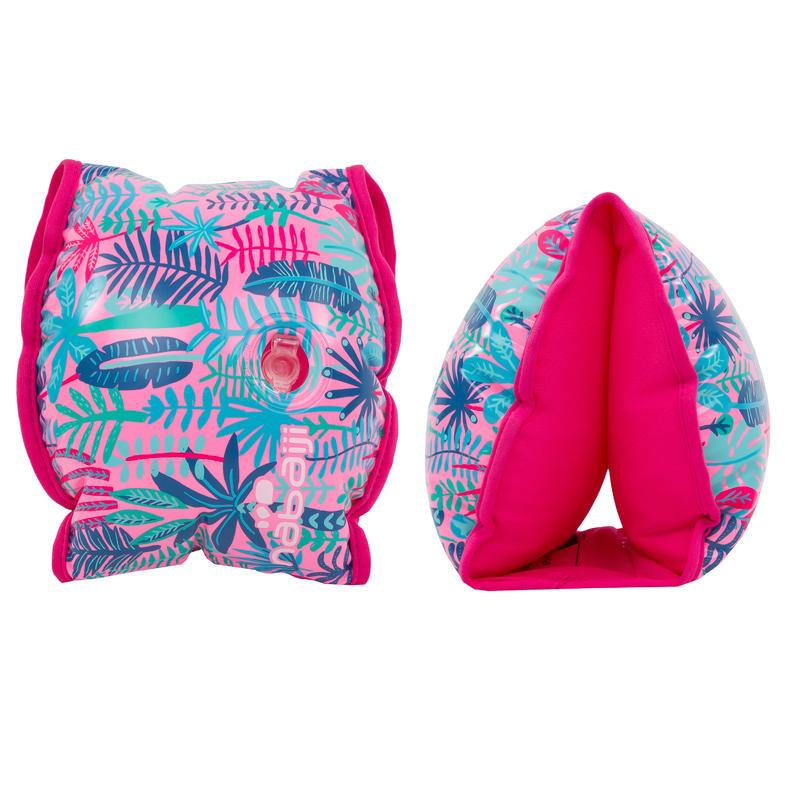 Brassards natation rose imprimé « Jungle » intérieur tissu enfant 33-66 lb