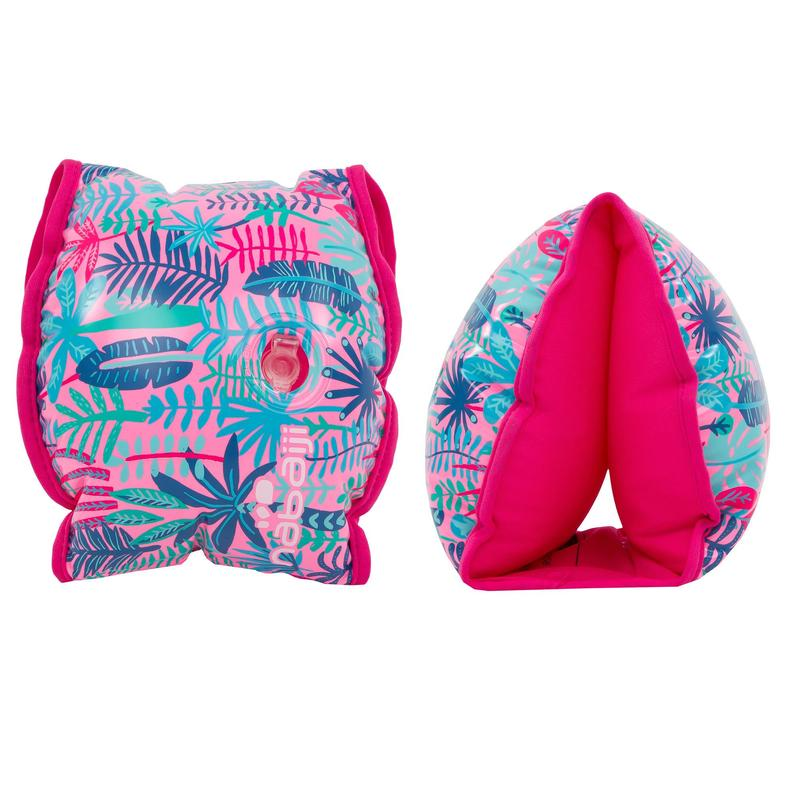 """Swimming pool armbands with inner fabric for 15-30 kg kids - pink """"Jungle"""" print"""