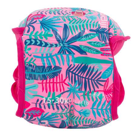 "15 -30 kg Children's Inner Fabric Swimming Armbands - Pink ""Jungle"" print"
