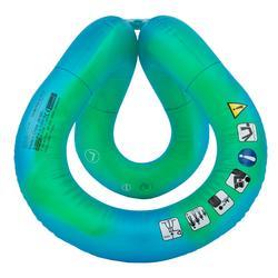 Opblaasbaar zwemvest volwassenen groen en blauw neckvest maat L 75-90 kg