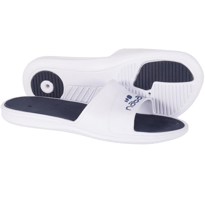 Men's Swimming Pool Sandals Slap 500 - White Blue