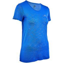 Camiseta Manga Corta Running Kalenji Mujer Azul Índigo Transpirable