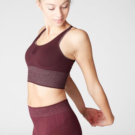 Sports Bra Seamless Yoga Long Dynamic- Burgundy/Silver