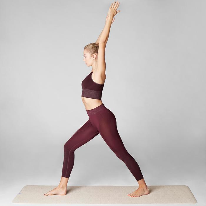 Top Sujetador Deportivo Yoga Dinámico Domyos 500 Mujer Burdeos Sin Costuras