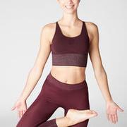 Seamless Long Dynamic Yoga Sports Bra - Burgundy/Silver