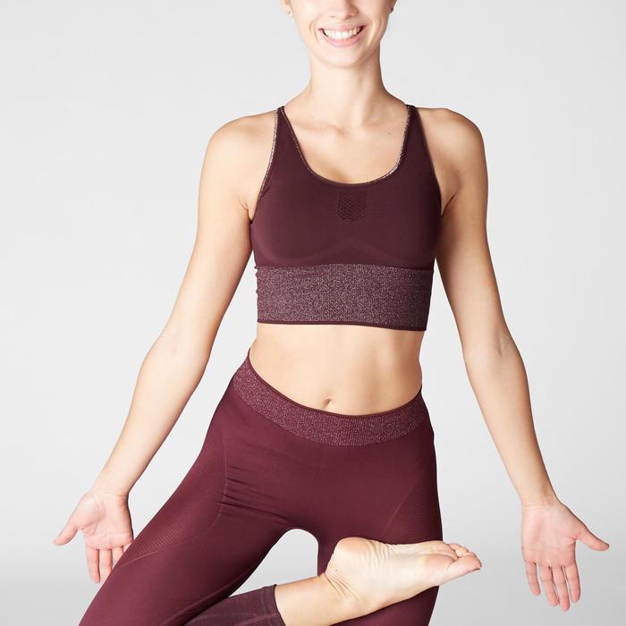 Bustier lang nahtlos für dynamisches Yoga bordeaux/silver