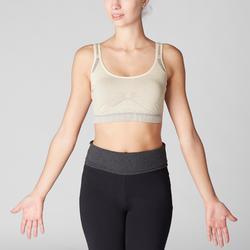 Top Sujetador Deportivo Yoga Domyos Sin costuras Mujer Beige