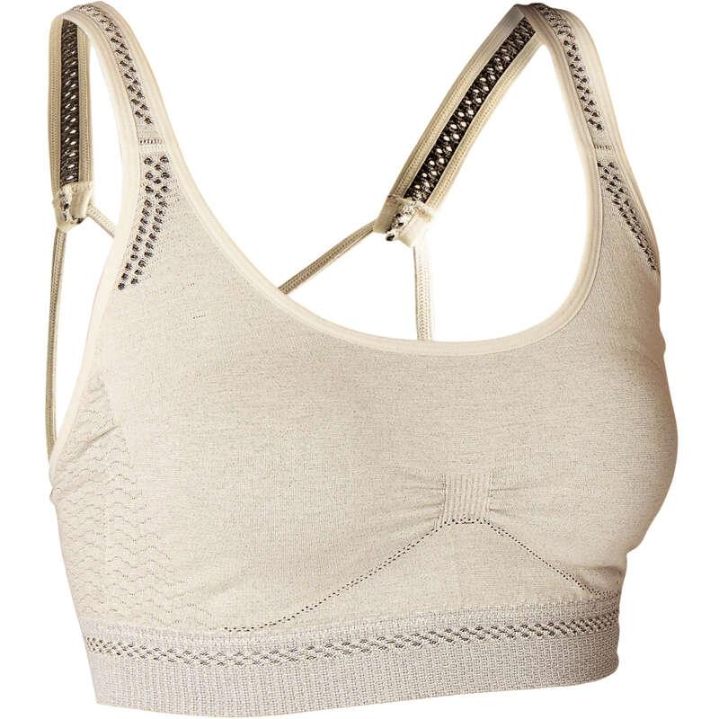 ABBIGLIAMENTO YOGA DONNA Yoga - Top donna yoga seamless beige DOMYOS - Abbigliamento yoga