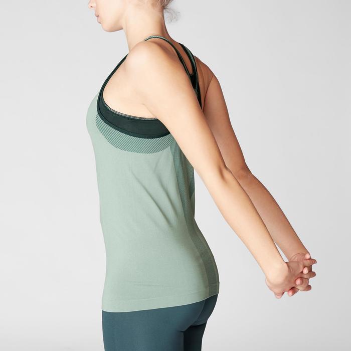 Camiseta Sin Mangas Yoga Domyos 500 Mujer Verde Sin Costuras