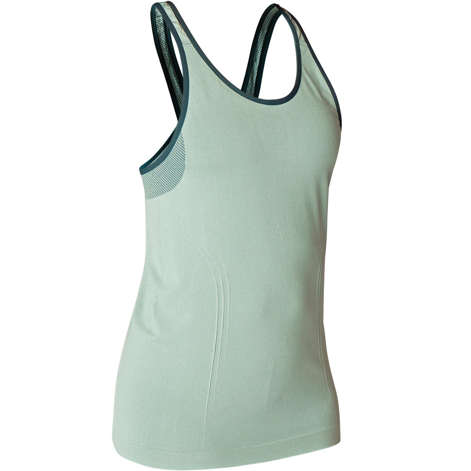 Top Yoga nahtlos für dynamisches Yoga grün | Sportbekleidung > Sporttops > Yogatops | Grün - Khaki | Domyos