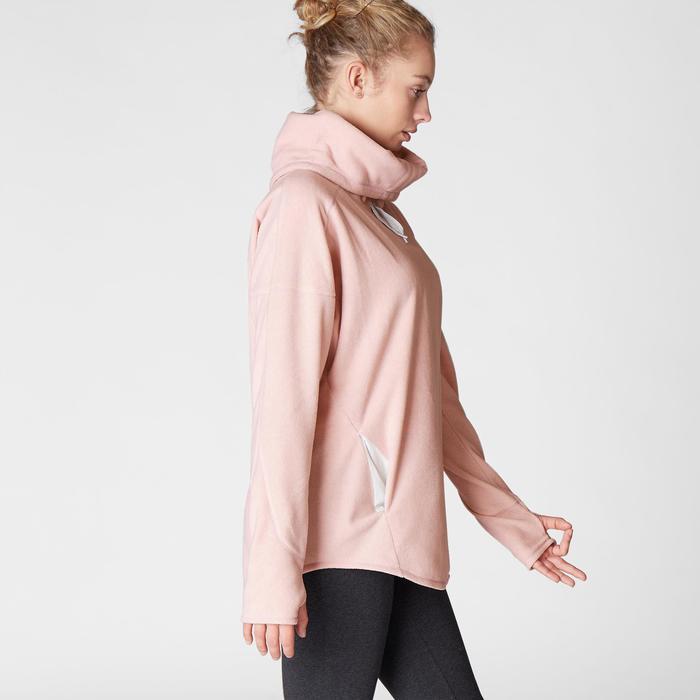 Sudadera Relajación Polar Yoga Domyos 100 Mujer Rosa Claro