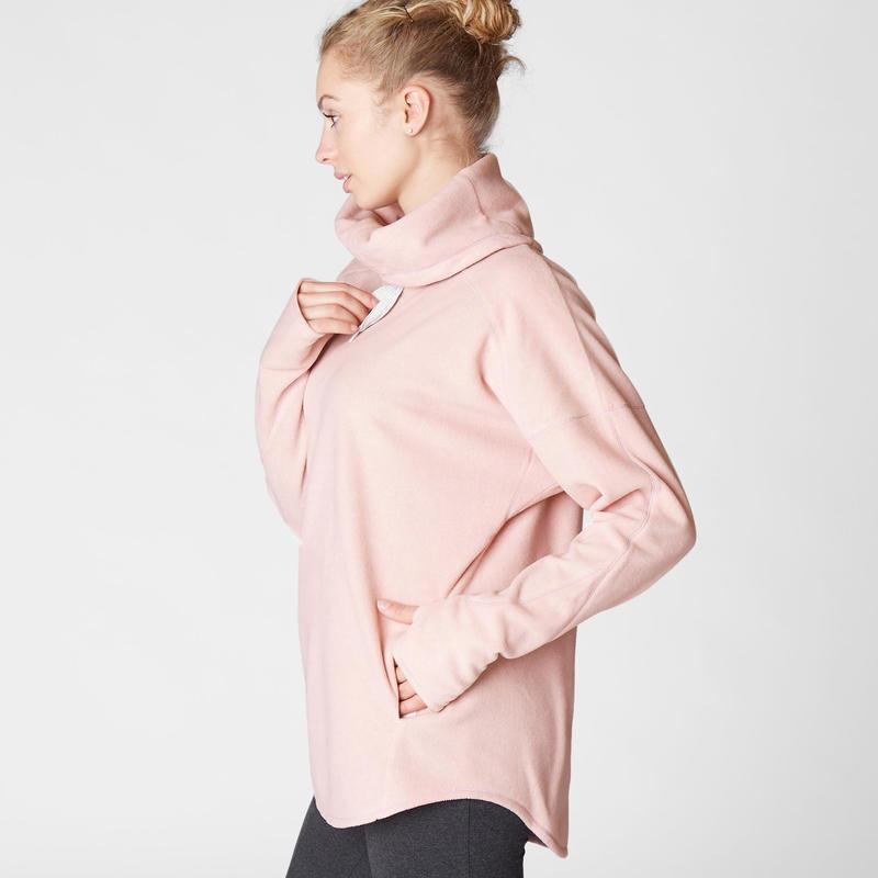 Polerón Relajación Polar Yoga Domyos 100 Mujer Rosa Claro