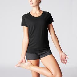 T-Shirt sanftes Yoga aus Baumwolle aus biologischem Anbau Damen schwarz
