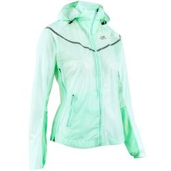 KIPRUN LIGHT WOMEN'S SHOWERPROOF JACKET - PALE GREEN