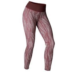 Mallas Leggings Deportivos Yoga Domyos 920 Slim Reversible Mujer Burdeos/Rosa