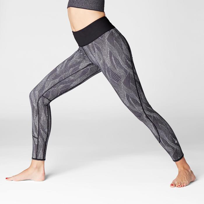 Omkeerbare legging voor dynamische yoga zwart / wit met print