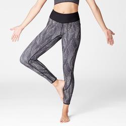 Mallas Leggings Deportivos Yoga Domyos 920 Slim Reversible Mujer Negro/Blanco