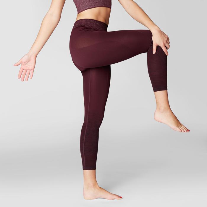 Mallas Piratas Leggings Deportivos Yoga Domyos 500 Mujer Burdeos Sin Costuras