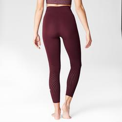 Second Skin Tech Yoga Leggings with Burgundy Perforated Motifs