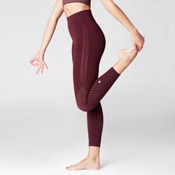 第二層肌膚科技瑜珈緊身褲,酒紅色多孔圖案