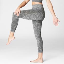 Mallas Piratas Leggings Deportivos Yoga Domyos 500 Slim Mujer Gris Sin Costuras