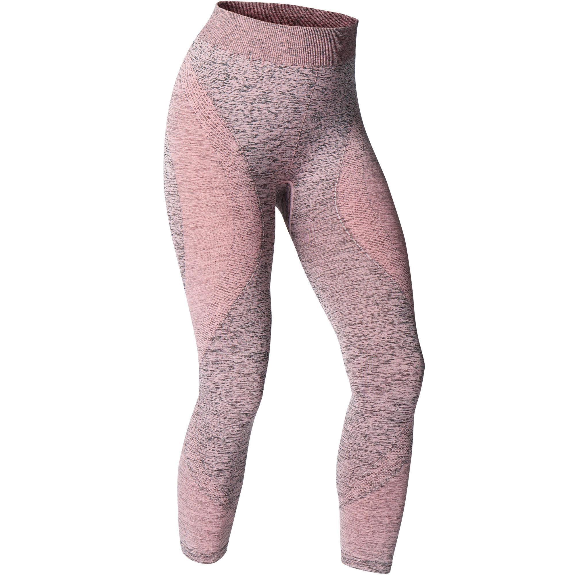 aea18a2624 Seamless 7/8 Yoga Leggings - Dusty Pink | Domyos by Decathlon
