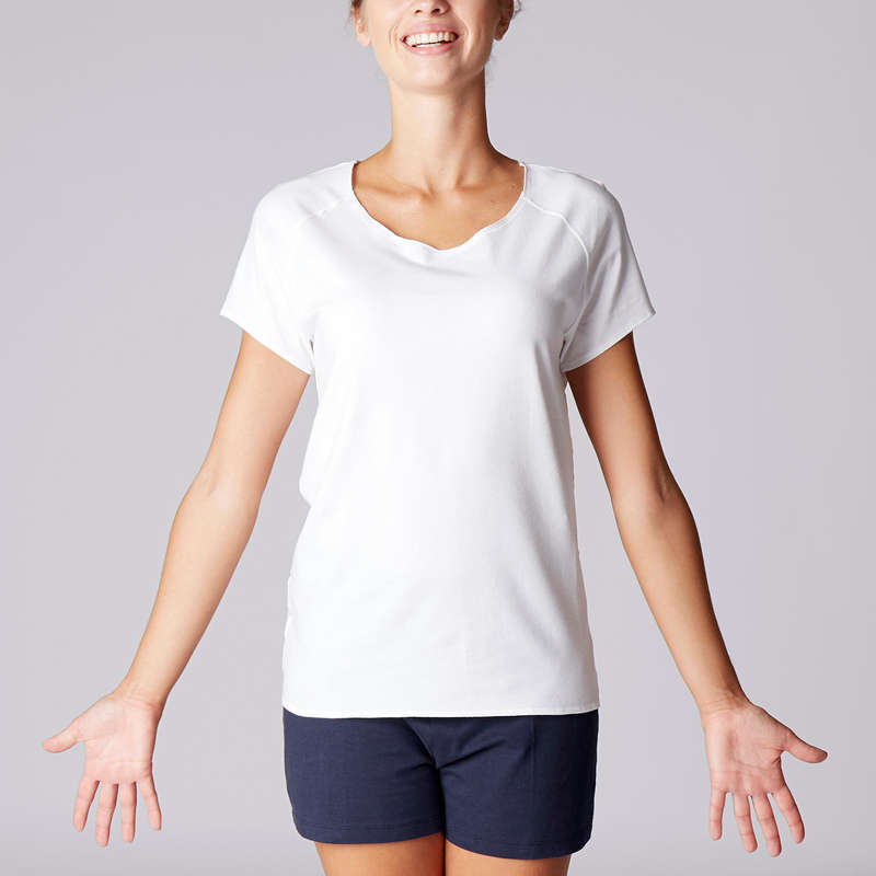 WOMAN YOGA APPAREL Clothing - Women's Gentle Yoga T-Shirt DOMYOS - By Sport