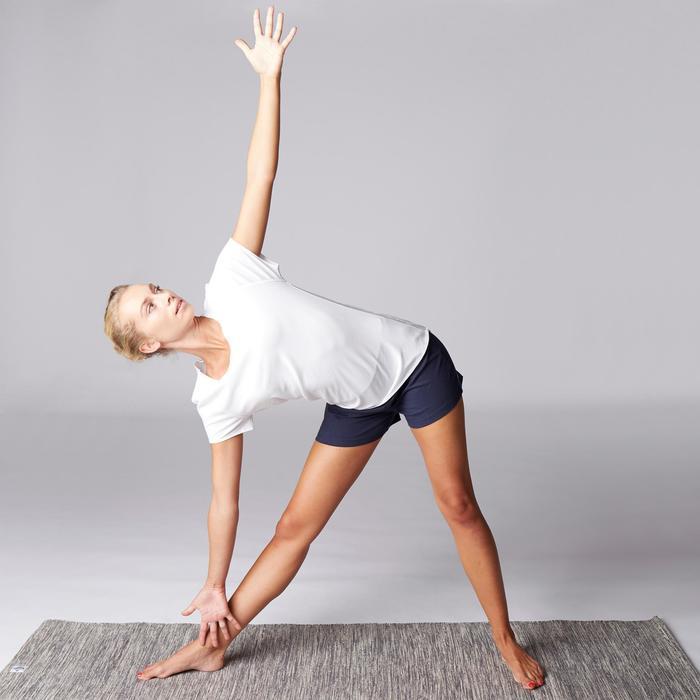 T-Shirt sanftes Yoga aus Baumwolle aus biologischem Anbau Damen weiß
