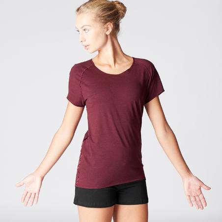Women's Gentle Yoga Organic Cotton T-Shirt - Burgundy