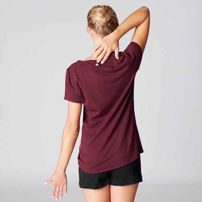T-Shirt sanftes Yoga aus Baumwolle aus biologischem Anbau Damen bordeaux