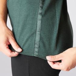 T-Shirt sanftes Yoga Baumwolle aus biologischem Anbau Damen dunkelgrün