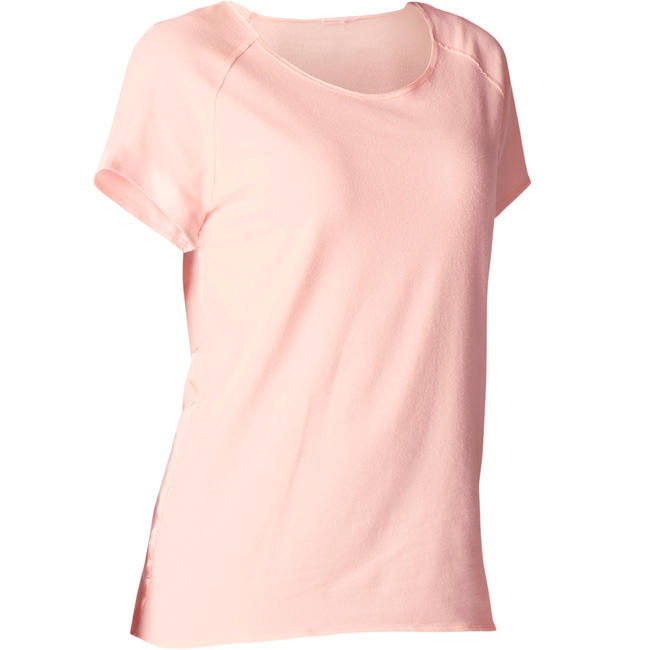 Women's Yoga Organic Scoop Neck Cotton T-Shirt - Pink