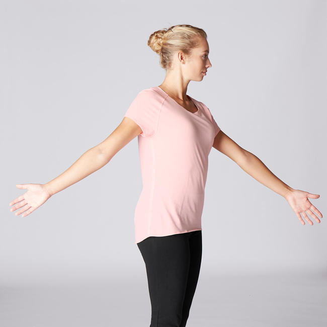 Women's Yoga Organic Scoop Neck Cotton T-Shirt - Pink