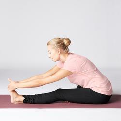 T-Shirt sanftes Yoga aus Baumwolle aus biologischem Anbau Damen rosa
