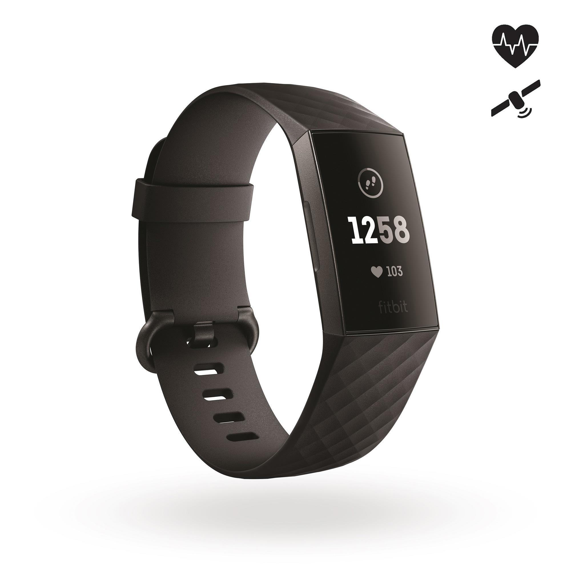 Fitnessarmband Fitbit Charge 3 schwarz | Schmuck > Armbänder > Fitness-Armbänder | Schwarz | Wo - Polyester - Ab | Fitbit