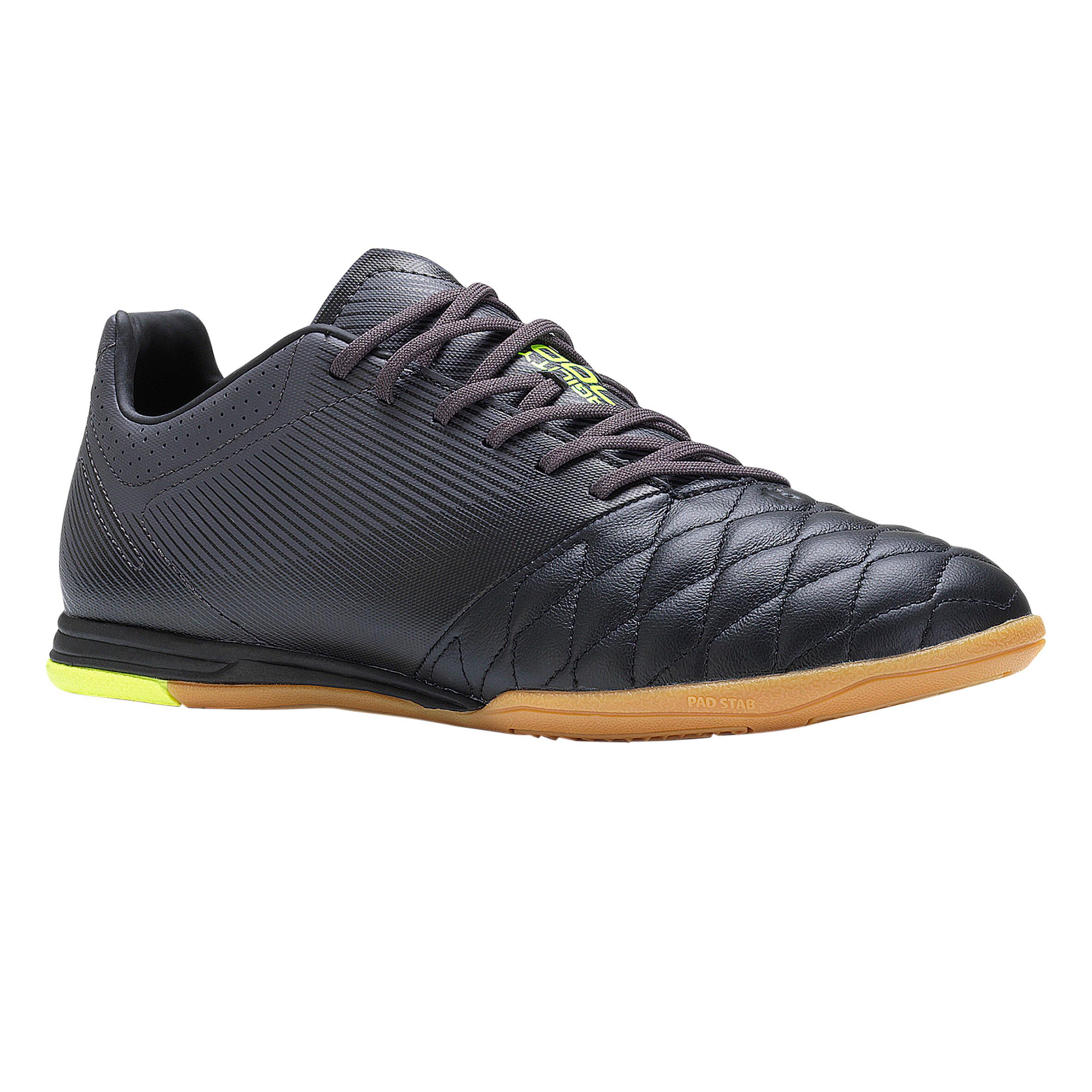Hallenschuhe Futsal Fußball Agility 700 Leder Erwachsene schwarz | Schuhe > Sportschuhe > Hallenschuhe | Schwarz - Grau - Gelb | Imviso