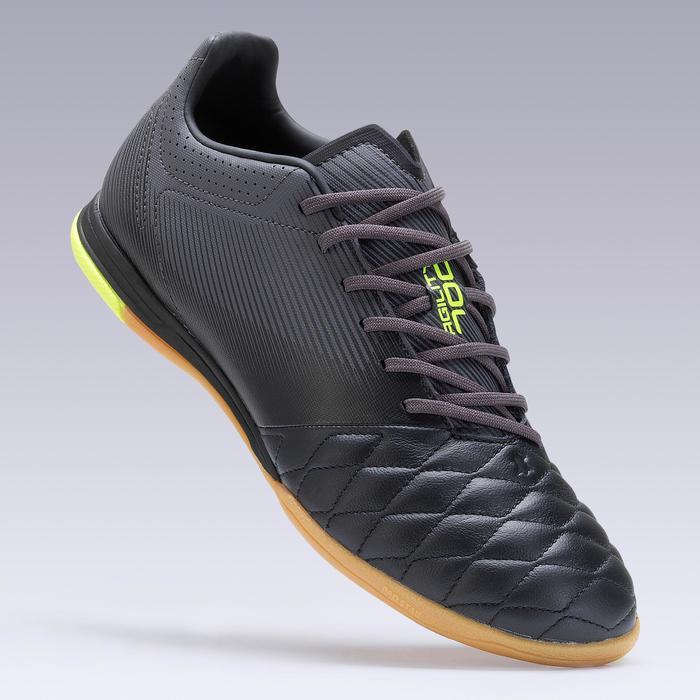Hallenschuhe Futsal Fußball Agility 700 Leder Erwachsene schwarz