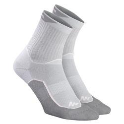 兩雙入高筒郊野健行襪-NH500-灰色/粉紅色
