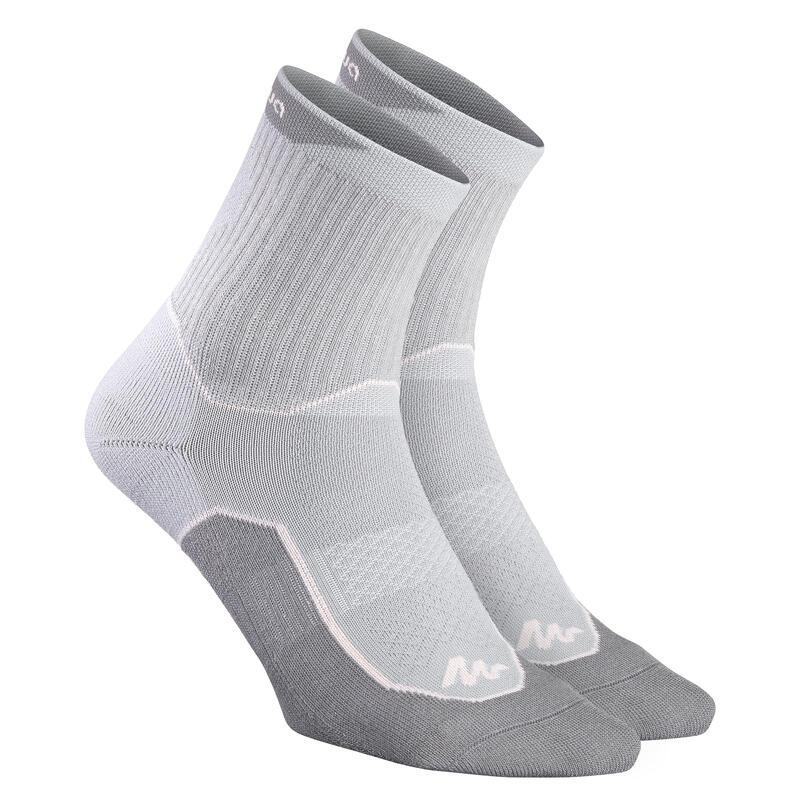 Vysoké turistické ponožky NH500 šedo-růžové 2 páry