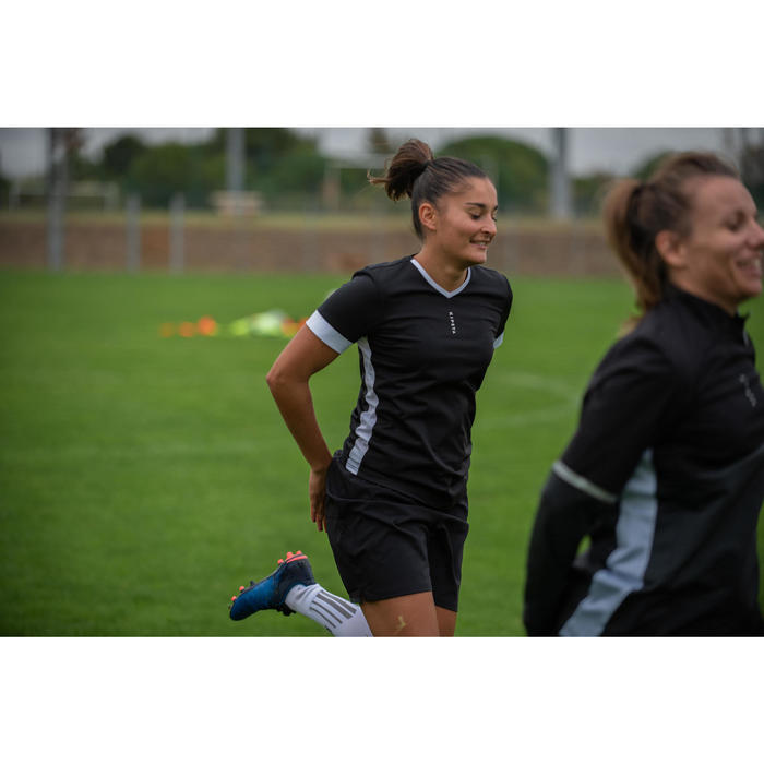 Fußballtrikot F500 Damen schwarz/weiß