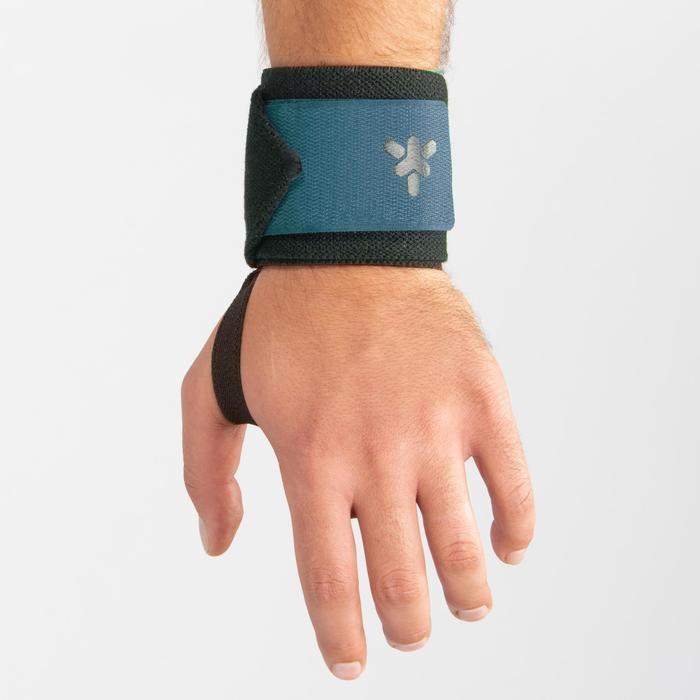Muñequera Protección Musculación Domyos Negro/Verde Azulado