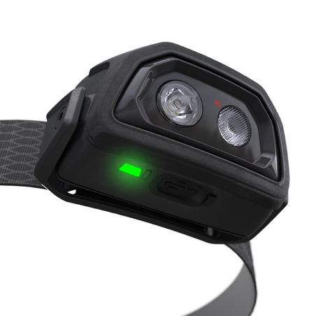 Linterna frontal recargable USB trekking TREK500 negro - 200 lúmenes