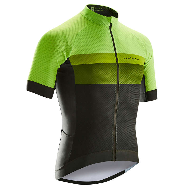 MEN WARM WEATHER ROAD RACING APPAREL Cycling - RR 900 Short Sleeve Cycling Jersey - Yellow/Green VAN RYSEL - Cycling