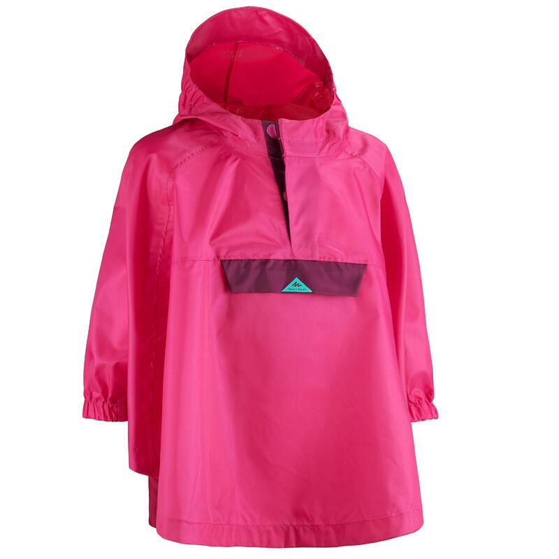 Kids' Waterproof Hiking Poncho MH100 Pink