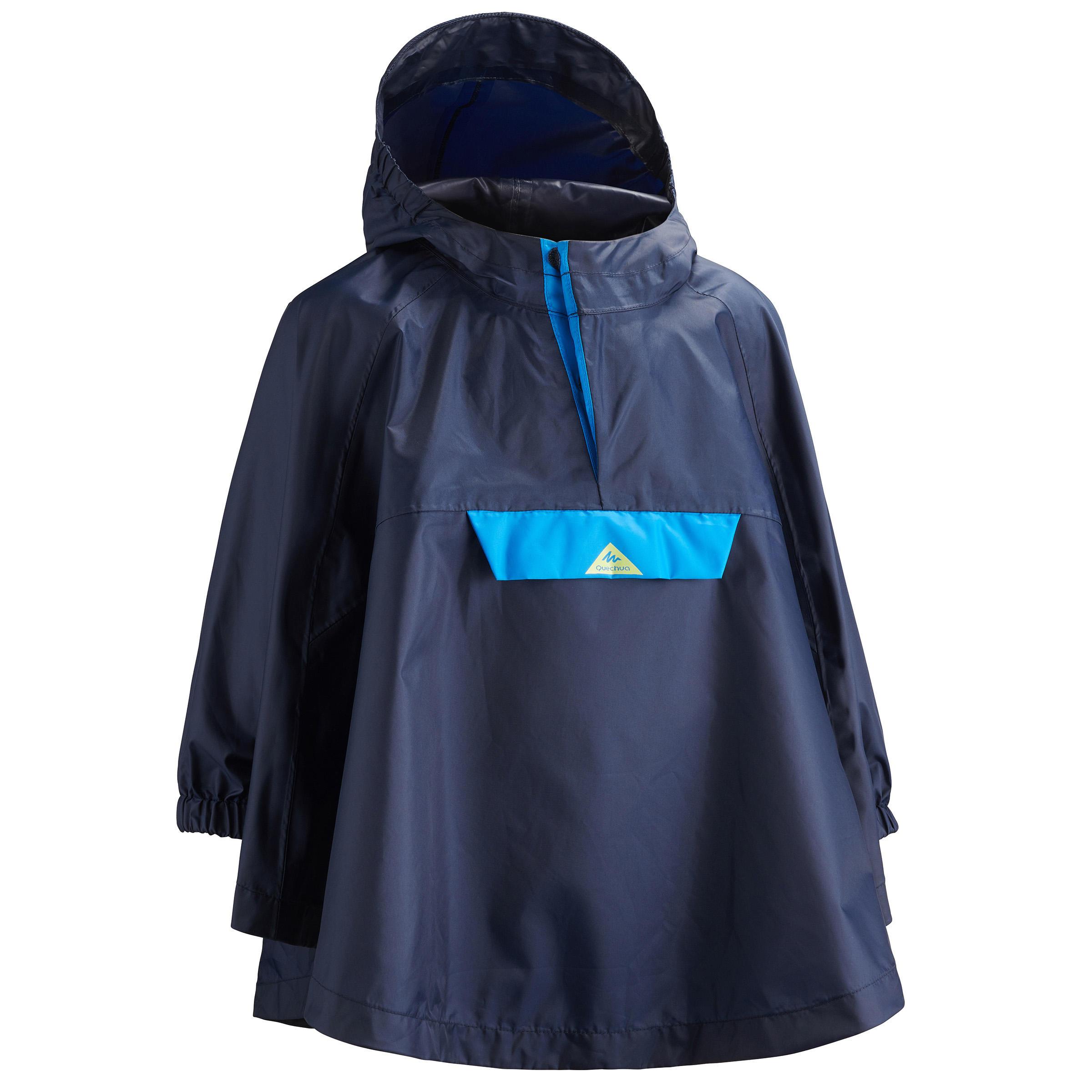 Regencape Poncho Wandern MH100 Kinder Gr.92–116 marineblau