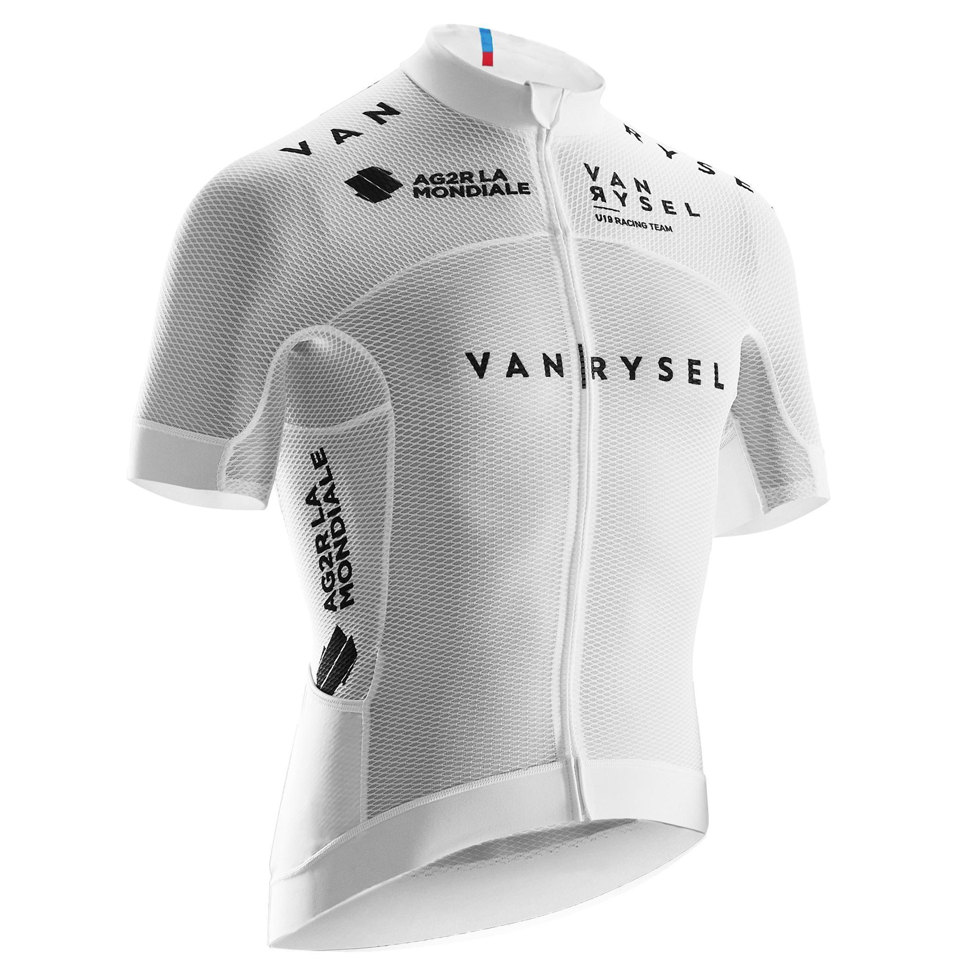 Fahrradtrikot kurzarm Rennrad RR 900 Team Mesh Herren weiß | Sportbekleidung > Trikots > Fahrradtrikots | Weiß - Schwarz | Baumwolle | Van rysel